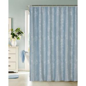 Clara 72 in. Blue Embroidered Shower Curtain
