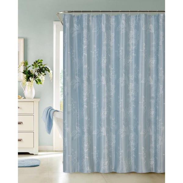 Dainty Home Clara 72 in. Blue Embroidered Shower Curtain