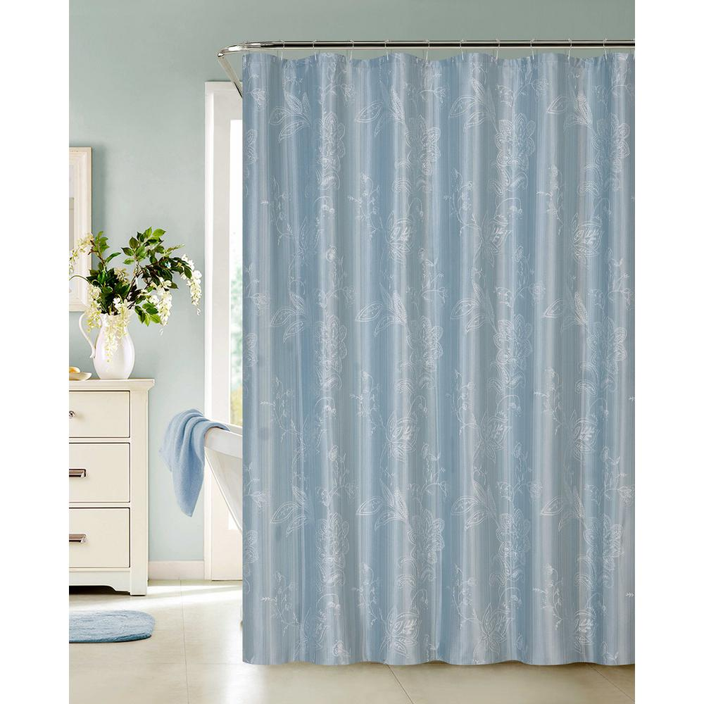 Blue Embroidered Shower Curtain