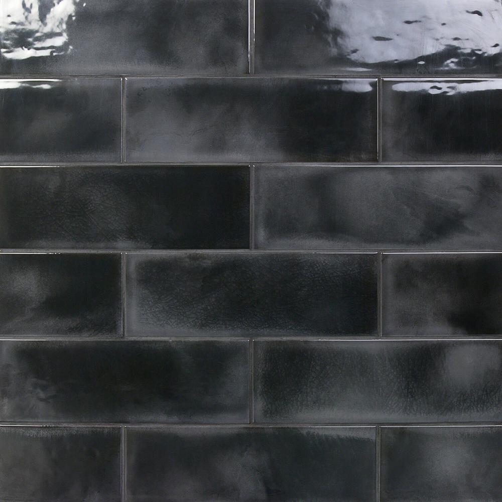 Piston Camp Black 4 in. x 12 in. 7mm Glazed Ceramic Subway Wall Tile (34-piece 10.97 sq. ft. / box)