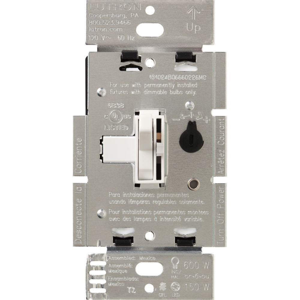 lutron toggler 150 watt single pole 3 way cfl led dimmer white tgcl 153ph wh the home depot. Black Bedroom Furniture Sets. Home Design Ideas