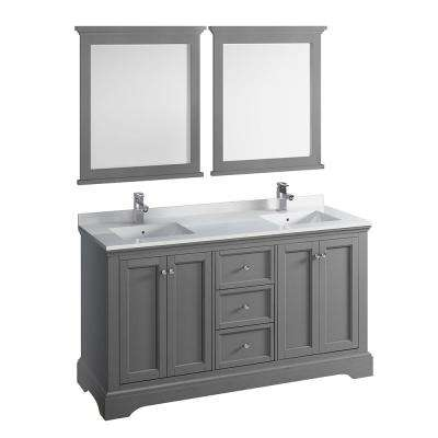 Windsor 60 in. W Traditional Double Bath Vanity in Gray Textured Quartz Stone Vanity Top in White White Basins, Mirrors
