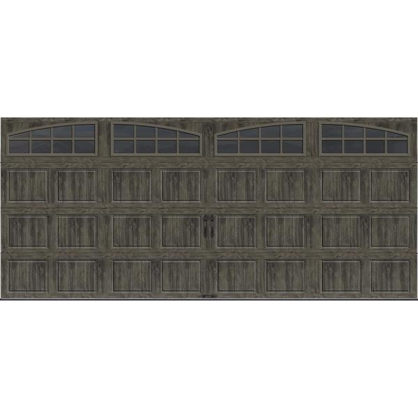 Gallery Collection 16 ft. x 7 ft. 6.5 R-Value Insulated Ultra-Grain Slate Garage Door with Arch Window