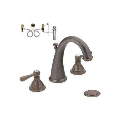 Kingsley 8 in. Widespread 2-Handle High-Arc Bathroom Faucet Trim Kit with Valve in Oil Rubbed Bronze