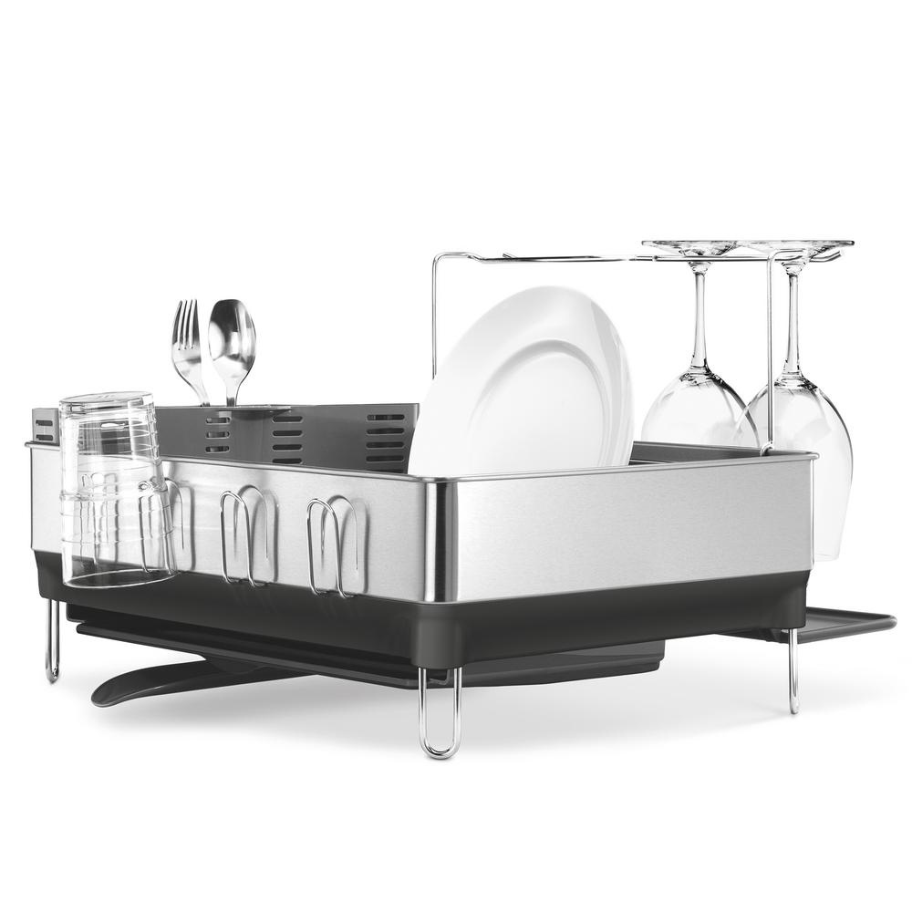 Simplehuman Steel Frame Dish Rack With Wine Glass Rack In Fingerprint Proof Stainless  Steel And