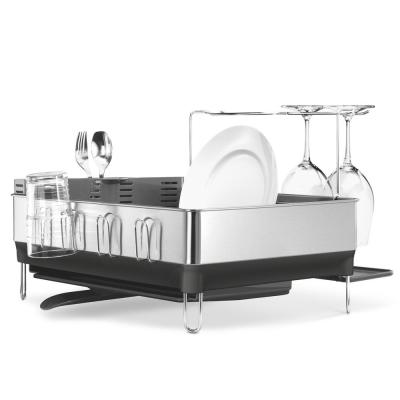 Steel Frame Dish Rack with Wine Glass Rack in Fingerprint-Proof Stainless Steel and Grey Plastic