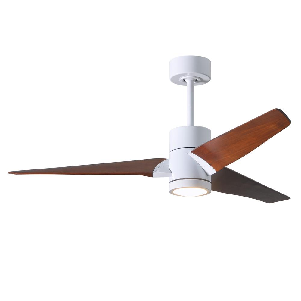 Super Janet 52 in. LED Indoor/Outdoor Damp Gloss White Ceiling Fan with Light with Remote Control, Wall Control