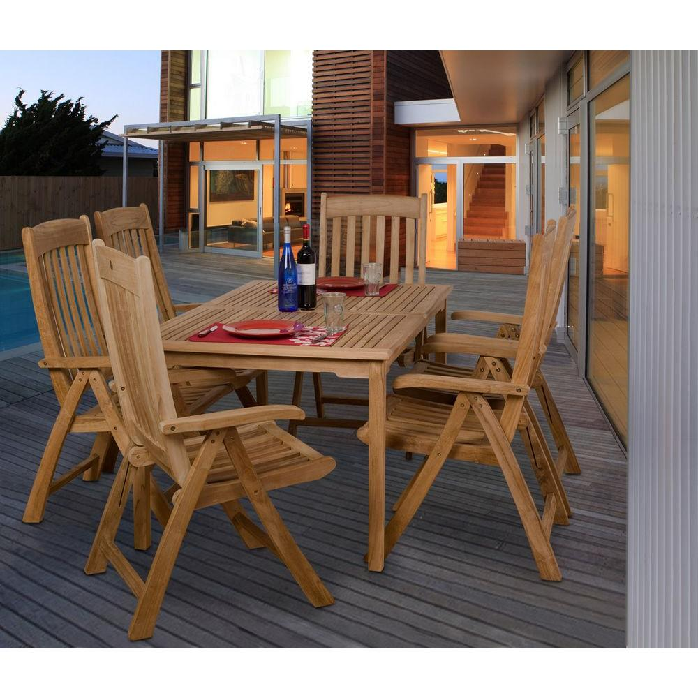 Wonderful Amazonia Zurich Teak 7 Piece Patio Dining Set SC ZURICH   The Home Depot