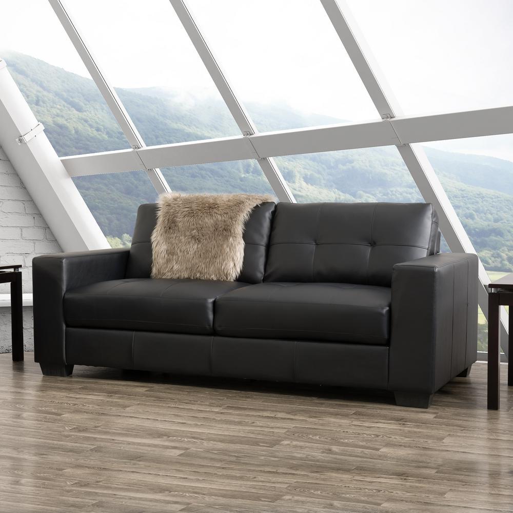 Club Tufted Black Bonded Leather Sofa