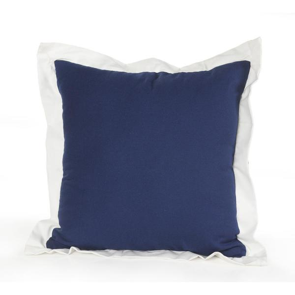 20 in. x 20 in. Navy/White Ribbon Border Solid Standard Throw Pillow