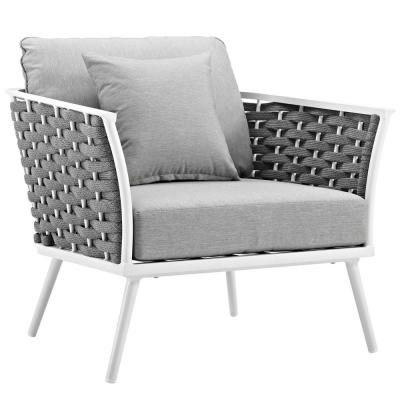 Stance White Aluminum Outdoor Lounge Chair with Gray Cushions
