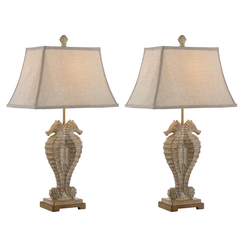 31 in. Sandstone Indoor Table Lamp Set