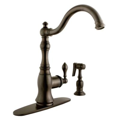 Victorian Single-Handle Standard Kitchen Faucet with Side Sprayer in Oil Rubbed Bronze