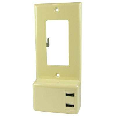 4.2 Amp 5-Volt 2-USB Ports USB Wall Plate Charger with Decor, Ivory