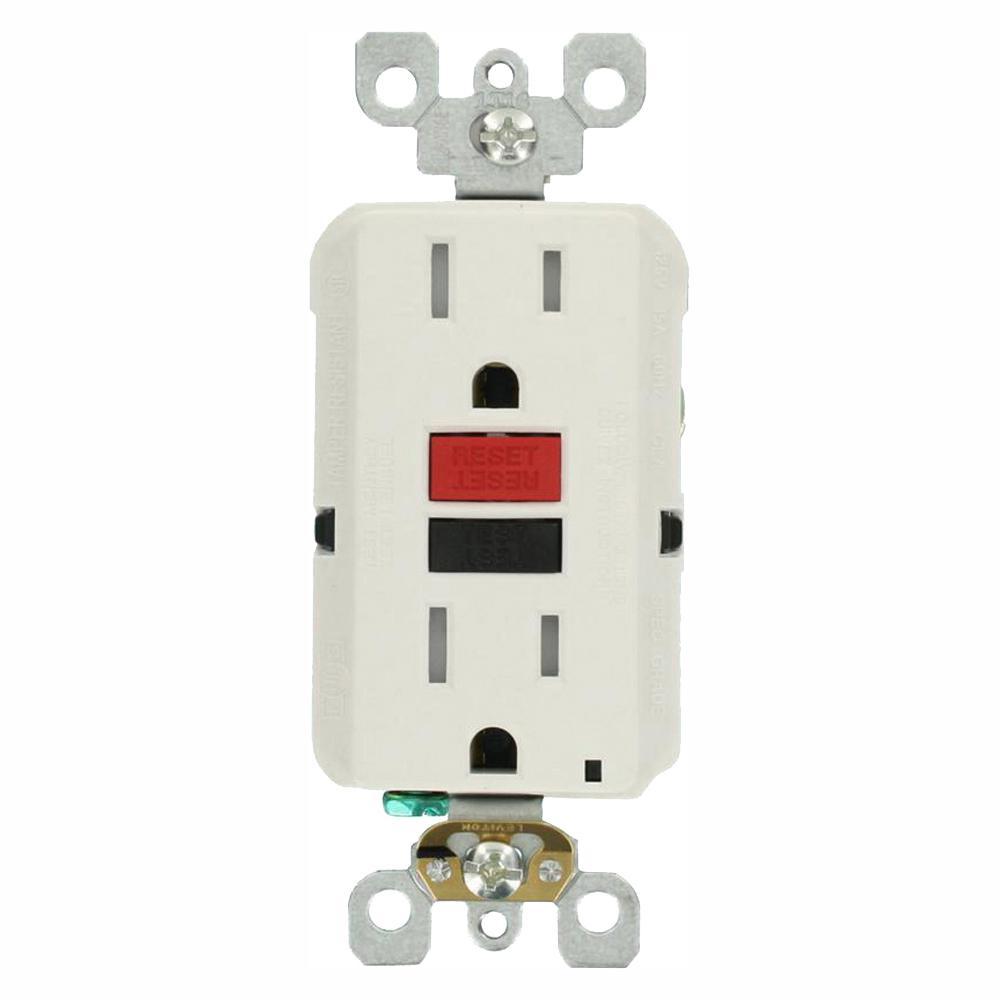 15 Amp Self-Test SmartlockPro Slim Duplex Tamper Resistant GFCI Outlet, White (3-Pack)