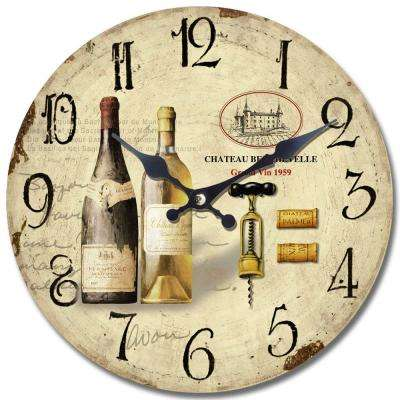 14 in. Circular Wooden Wall Clock with 2-Bottles of Wine Print