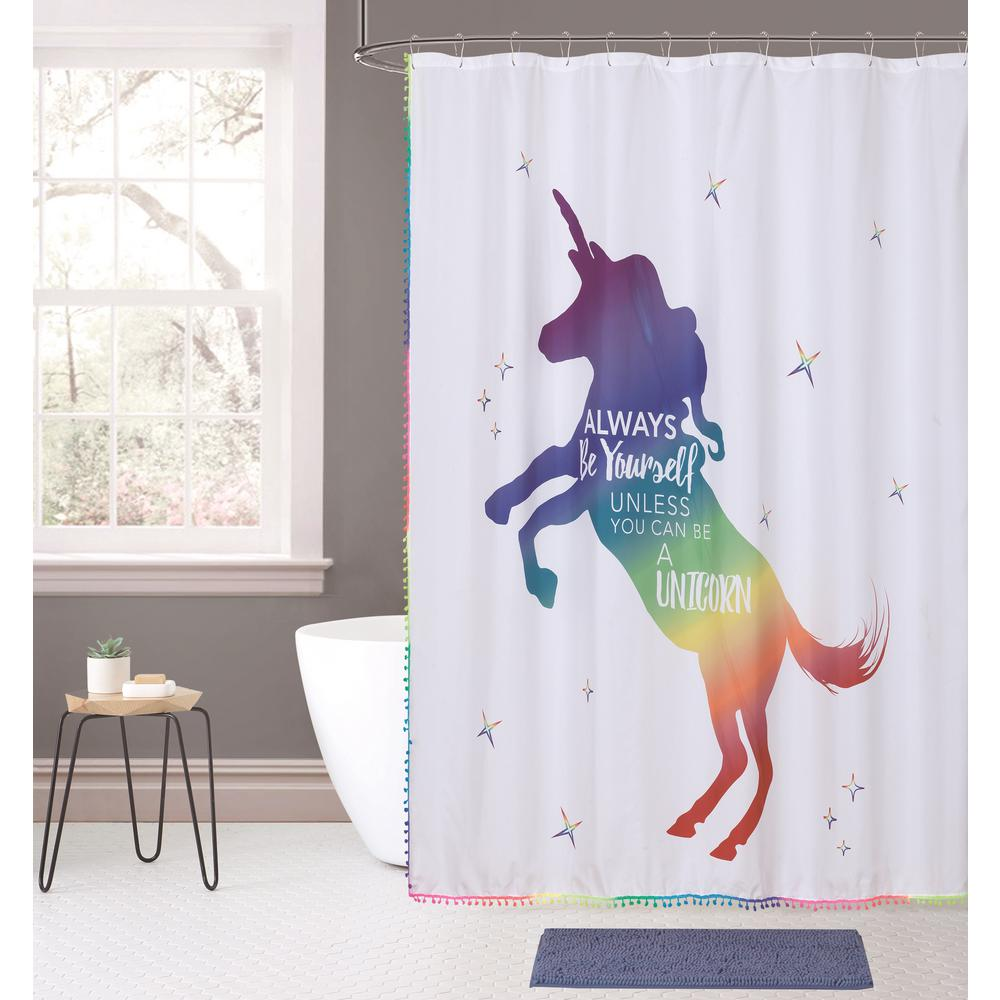 Indecor Home Rainbow Unicorn 14 Piece Bath Rug And Shower Curtain
