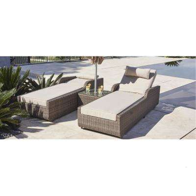 Alisa Brown 3-Piece Wicker Patio Adjustable Chaise Lounge Set with Beige Cushions and Side Table