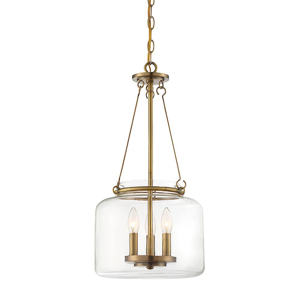 3-Light Warm Brass Pendant