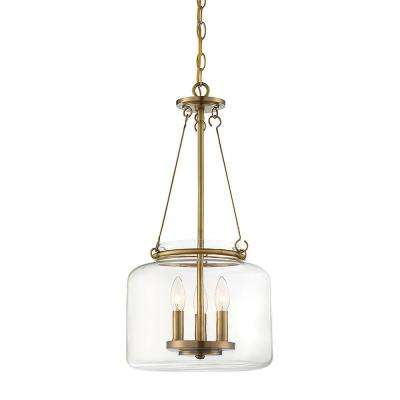 3-Light Warm Brass Pendant