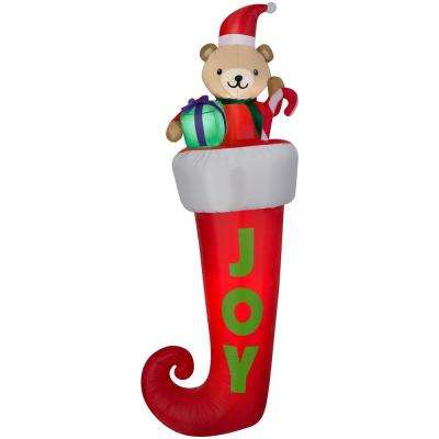 7 ft. Airblown Stocking with Teddy Bear Christmas Inflatable