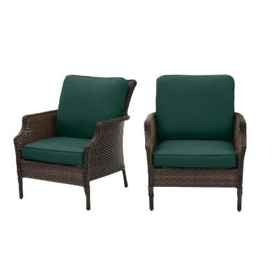 Grayson Brown Wicker Outdoor Patio Lounge with CushionGuard Charleston Blue-Green Cushions (2-Pack)