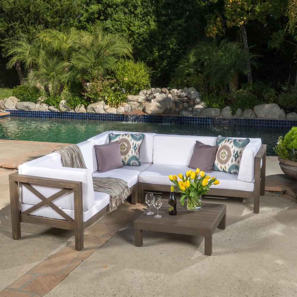 Noble House Brava Gray 4 Piece Wood Outdoor Sectional Set With White