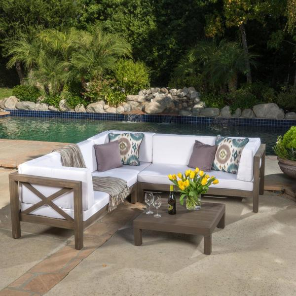 Noble House Brava Gray 4-Piece Wood Outdoor Sectional Set with White Cushions