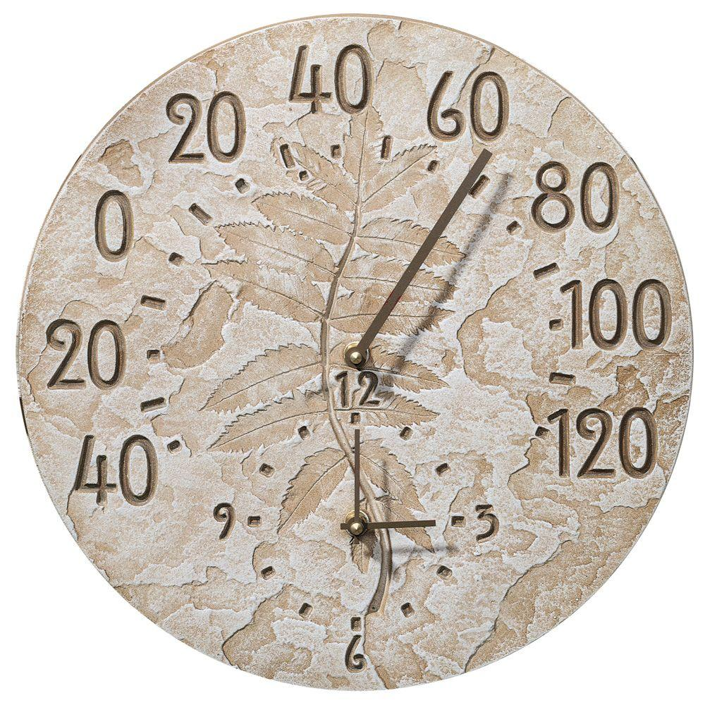 Whitehall Products Weathered Limestone Fossil Sumac Clock and Thermometer