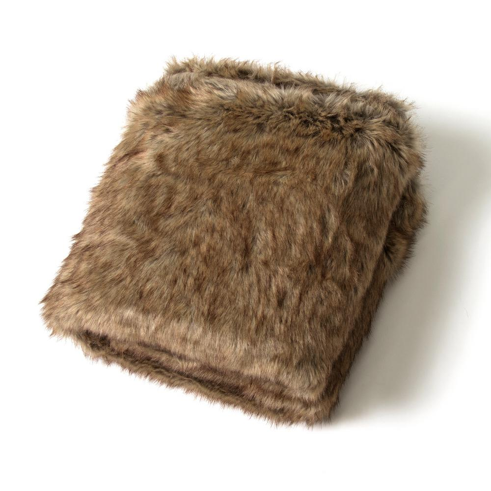 58 in. x 84 in. Coyote Faux Fur Throw by Wild