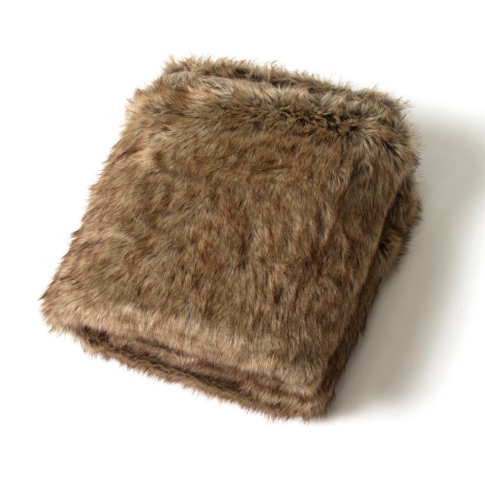 Coyote Faux Fur Throw Blanket