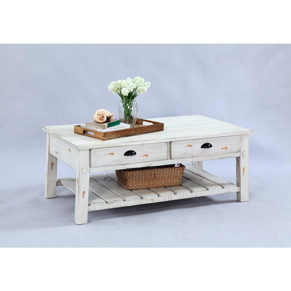 Willow Distressed White Rectangular Tail Table