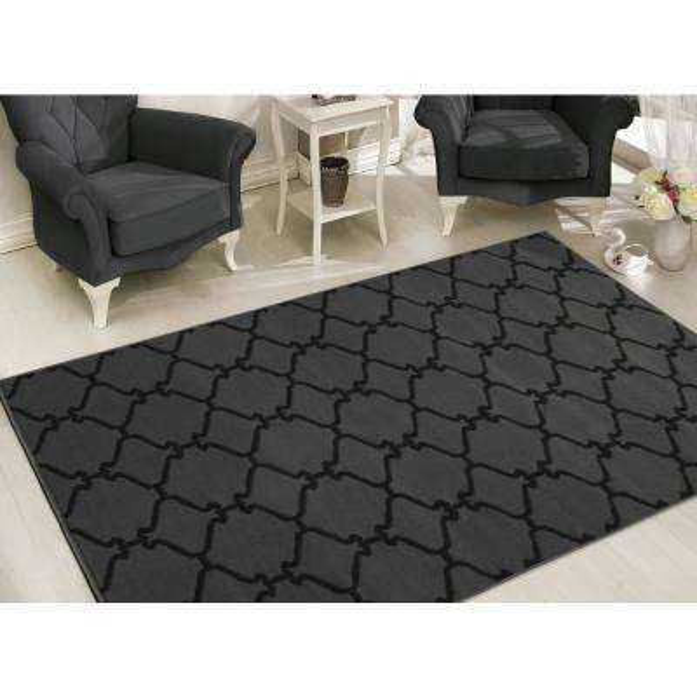 Clifton Collection Moroccan Trellis Design Dark Grey 8 ft. x 10 ft. Area Rug