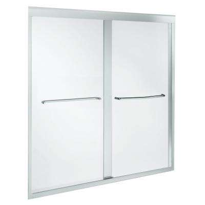 Fluence 59-5/8 in. x 58-5/16 in. Heavy Semi-Frameless Sliding Bathtub Door in Bright Polished Silved with Handle