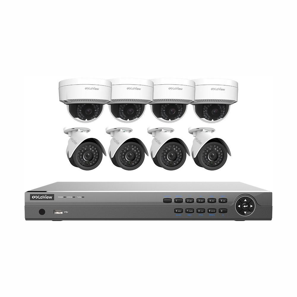 LaView 16-Channel Full HD IP Indoor/Outdoor Surveillance 3TB NVR System (4) Bullet and (4) Dome 1080P Cameras Free Remote View