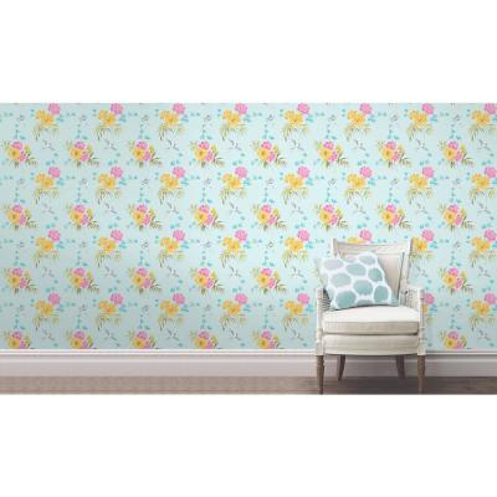 56.4 sq. ft. Riva Blue Floral Wallpaper