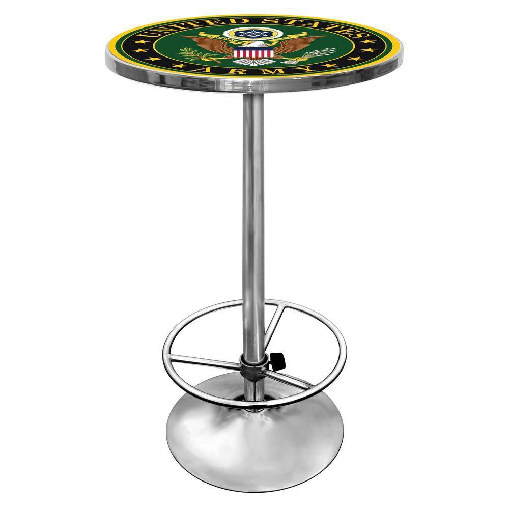 U.S. Army Symbol Chrome Pub/Bar Table