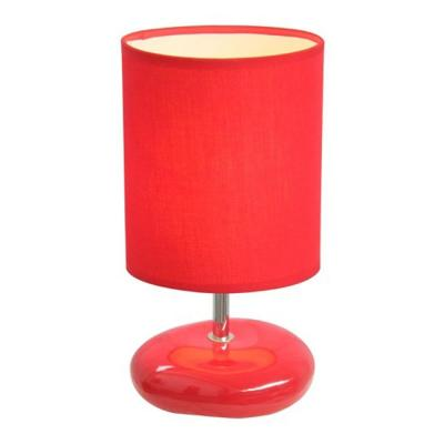 10.5 in. Red Stonies Small Stone Look Bedside Table Lamp