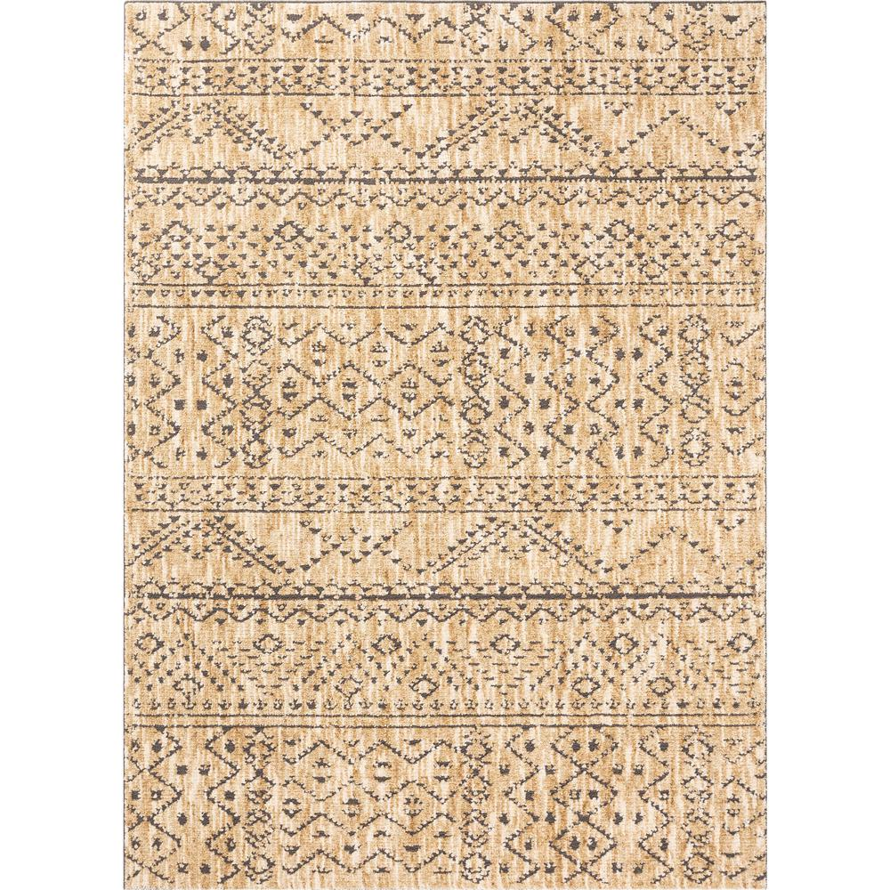 Well Woven Delilah Beverly Modern Vintage Moroccan Tribal Distressed Beige 5 ft. 3 in. x 7 ft. 3 in. Area Rug