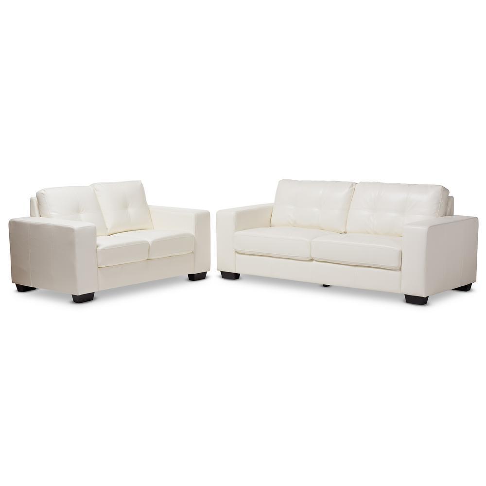 Baxton Studio Adalynn 2-Piece White Living Room Set-146-83518352-HD ...