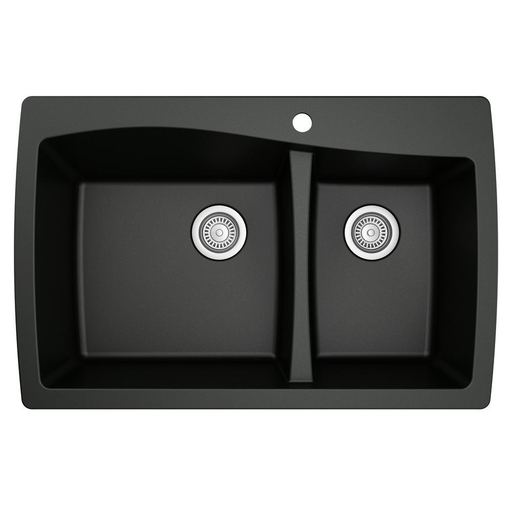 Karran Drop-In Quartz Composite 34 in. 1-Hole 60/40 Double Bowl Kitchen Sink in Black
