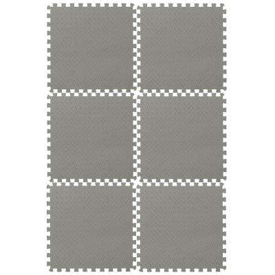 EVA Foam Mat Collection Gray 144 in. x 216 in. Yoga Mat