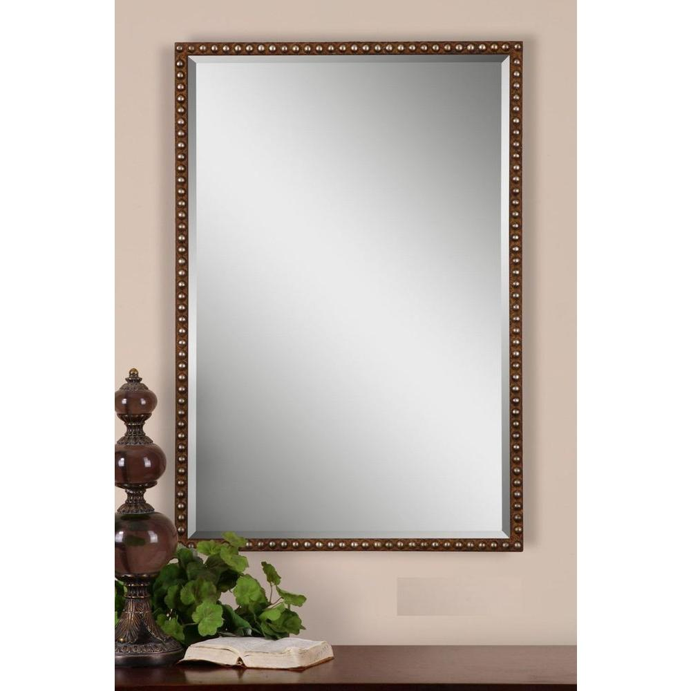 Global Direct 32 in. x 21.5 in. Brown Framed Mirror