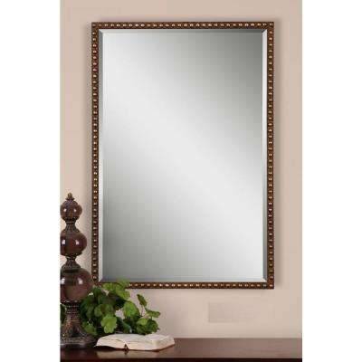 32 in. x 21.5 in. Brown Framed Mirror