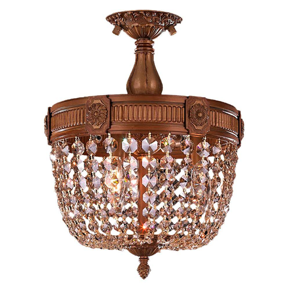 Worldwide Lighting Winchester Collection 3 Light French Gold And Golden Teak Crystal Semi Flush