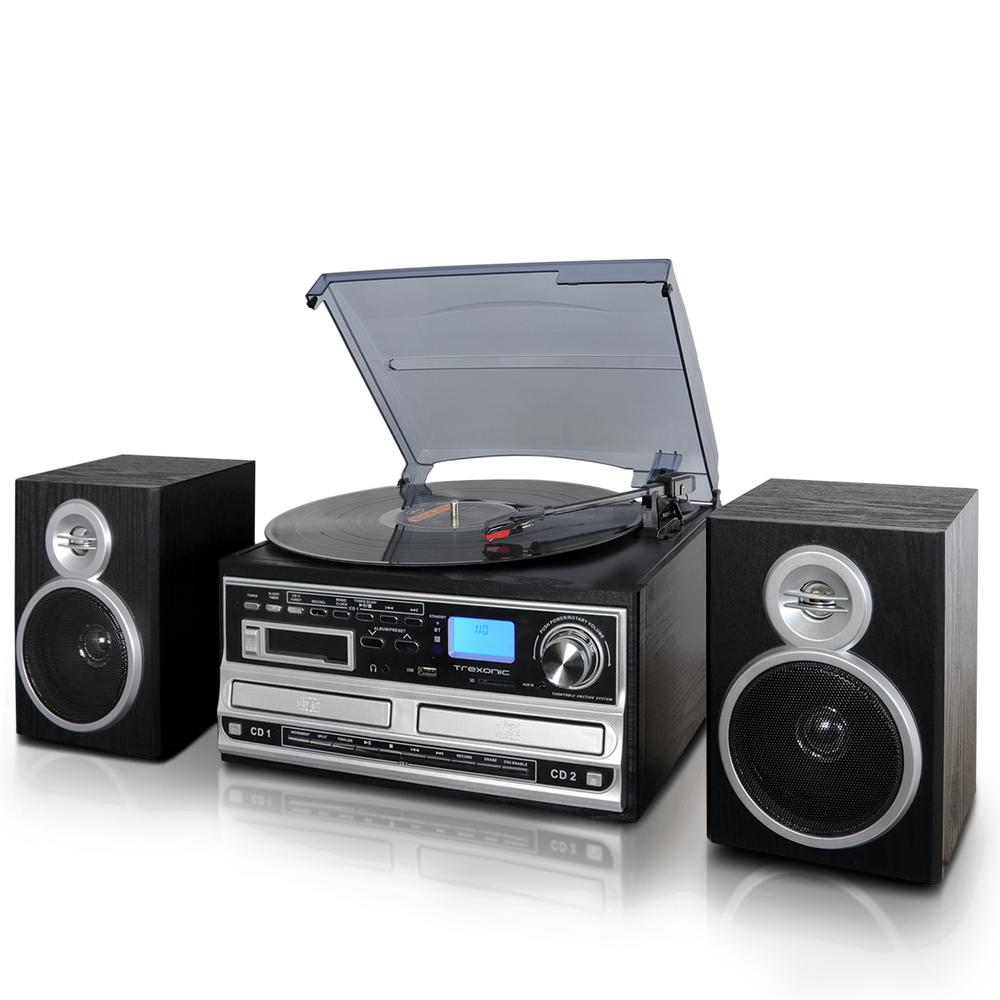 Trexonic 3 Speed Turntable With Wired Shelf Speakers FM Radio And