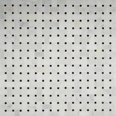 Greecian White Basketweave 12 in. x 12 in. x 10mm Polished Marble Mesh-Mounted Mosaic Tile (10 sq. ft. / case)