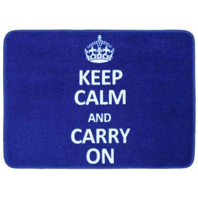 Keep Calm and Carry on Cobalt Blue 17 in. x 24 in. Bath Rug