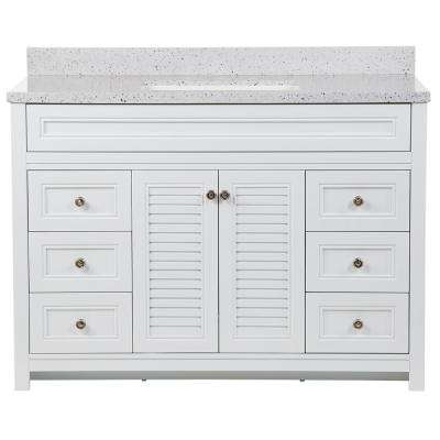 Bayridge 49 in. W x 22 in. D Bath Vanity in White with Solid Surface Vanity Top in Silver Ash with White Sink