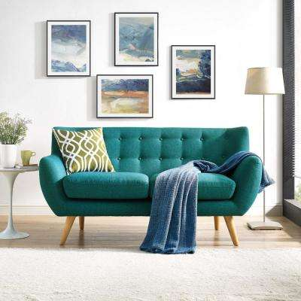 Remark Teal Upholstered Fabric Loveseat